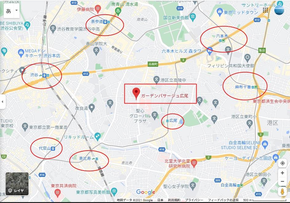 ガーデンパサージュ広尾 場所 地図